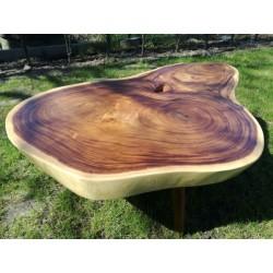 Meble ogrodowe teakowe - Stoły z teku - Stolik kawowy na toczonych nogach z drewna suar