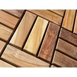 Meble ogrodowe teakowe - Panele teak z teku - Panel tarasowy 30 cm X 30 cm 12 klepek