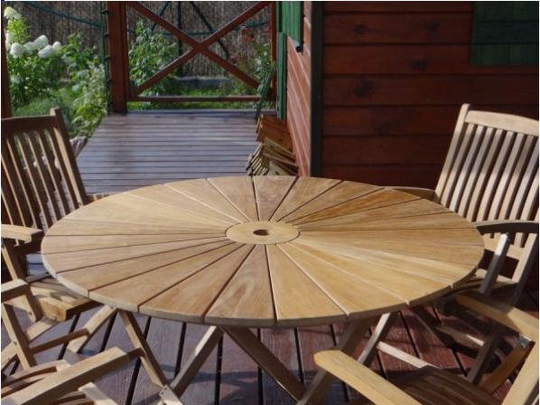 Stół ogrodowy drewniany z drewna tekowego